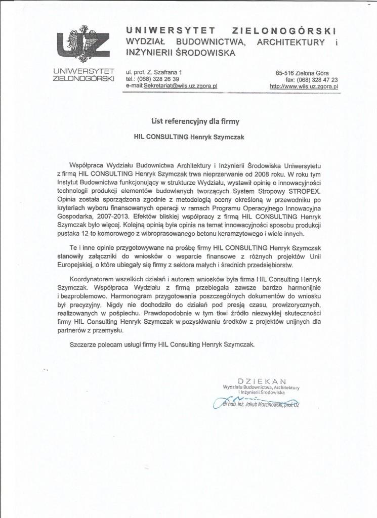 List referencyjny Uniwersytet Zielonogórski
